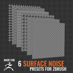 The pack contains 6 Surface Noise presets for ZBrush. You'll get 6 ZBrush Noise Maker (.znm) files. Full PRO Package available here https://gumroad.com/products/GcDTD