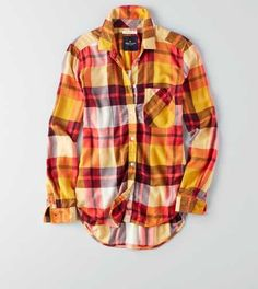 AEO Boyfriend Plaid Button Down Shirt