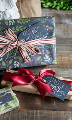 Downloadable chalkboard Christmas labels. Could also be used as name places tied to napkin with ribbon for Holiday dinners.
