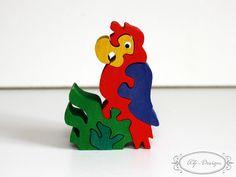 Puzzle en bois, petit perroquet, l'oiseau exotique, jouet enfant