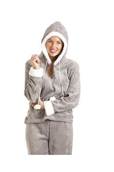 Luxury Grey Supersoft Fleece Hooded Pyjama Set