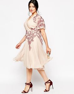 Image 4 ofASOS CURVE Lace Placed Embroidered Midi Skater Dress