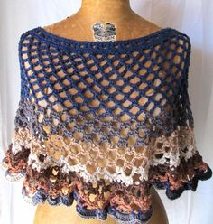 Womens crochet poncho / capelet Caprice fall size by CoffyCrochet - SOLD