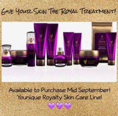 Give your skin the Royal Treatment with Younique's new skin care line! Available for purchase mid September 2016! I am so excited about these products!  #YouniqueRoyalty  #Questions  www.callofbeauty.us