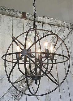Industrial round chandelier light fixture globe metal rustic armillary sphere - ALL ABOUT Round Chandelier, Hanging Chandelier, Chandelier Lighting, Entry Chandelier, Chandeliers, Lustre Industrial, Vintage Industrial Lighting, Industrial Chandelier, Farmhouse Chandelier