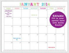 typeable calendars