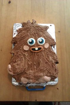 Fury Moshi Monsters Birthday cake  Made for my son's 10th Birthday.   Tray bake with chocolate butter cream.