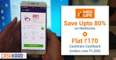Ever tried online shopping of medicines?🤔 Try it now with #Medlife & enjoy up to 80% + flat Rs 170 #Cashback on orders over Rs 2100 only via CashKaro #Medicines #Health #HealthyLife #TakeCare #MedlifeOffers💥