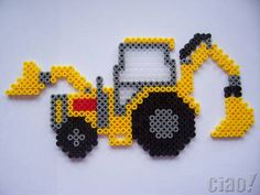 Digger / hama perler beads / Bügelperlen by cindeecc Hama Beads Design, Diy Perler Beads, Perler Bead Art, Pearler Beads, Fuse Beads, Melty Bead Patterns, Pearler Bead Patterns, Perler Patterns, Beading Patterns