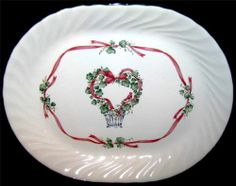 "Corelle CALLAWAY HOLIDAY Oval Serving Platter Swirled Rim & Green Trim 12"" MINT $24.99"