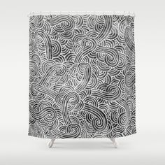 """""""Grey and white doodles"""" Shower Curtain by Savousepate - $68.00 #showercurtain #bathroom #bathroomdecor #black #white #grey #gray #blackandwhite #zentangle #doodles #scrolls #pattern"""