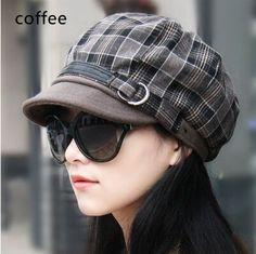casual newsboy cap for women plaid hat winter wear