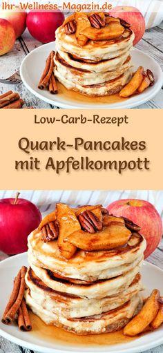 Low-Carb-Rezept für Quark-Pancakes mit Apfekompott: Kohlenhydratarme, süße Pfannkuchen - gesund, kalorienreduziert, ohne Getreidemehl, zuckerfrei ... #lowcarb #pancakes #pfannkuchen