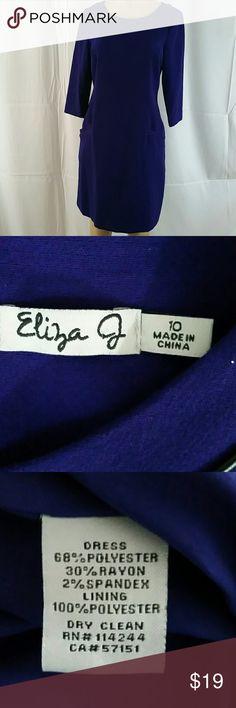 Eliza J. Purple Dress 3/4 sleeve side pockets Sz10 Eliza J. Purple Dress 3/4 sleeve side pockets Size 10 Eliza J Dresses Midi