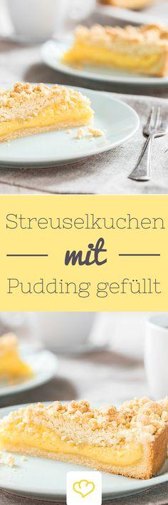 Streuselkuchen mit Pudding gefüllt – wie früher! Ein buttriger Mürbeteig unten…