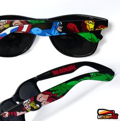 Sunglasses - Custom Wayfarer style sunglasses The Avengers comic unique hand painted - Captain America - Thor - Hulk - Iron Man. €37,00, via Etsy.