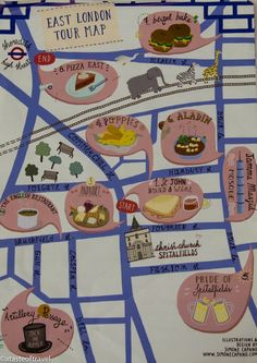 What should you do when you're on the East side of London? Eat! Eat all of the food! Here's a great tour map of the delicious places to eat in East London.