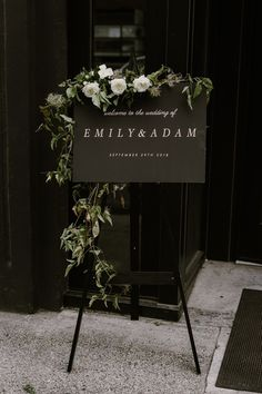 {Modern black welcome sign by Seek Paper Co. Glamorous Industrial Wedding Castaway Portland Style design by Mae Co Creative maeandcocreative weddingdesigner portlandwedding portlandweddingvenue industrialwedding Wedding Costs, Dream Wedding, Wedding Day, Wedding Hacks, Perfect Wedding, Wedding Hijab, Wedding Table, Glamorous Wedding, Black Tablecloth Wedding