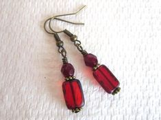 Red Rectangle Czech Picasso Glass and Fire Polished Glass Bronze Tone Earrings $6