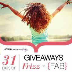 Enter to win Curly Hair prizes: NaturallyCurly's 31 Days of Giveaways http://www.naturallycurly.com/NaturallyCurlys-31-Days-of-Giveaways