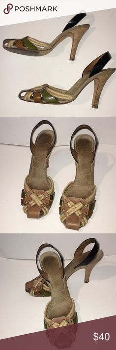 """PRADA SHOES PRELOVED MULTI SUEDE PATTEN LEATHER WOVEN SHOES THESS SHOES SHOE WEAR PLEASE REVIEW PICTURES MORE LOVE LEFT IN THESE BEAUTIES SIZE 41 RUNS SMALL HEEL HEIGHT 4.5"""" GREAT BUY Prada Shoes Heels"""