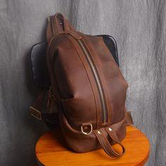 feb83001d3 Handmade Men s Full Grain Leather Outdoor Chest Bag Sling Shoulder Bag  Sport Cross Body Bag NP01