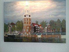 Olie Schilderij op linnen 40x60cm motelbaantoren amsterdam