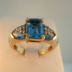 Blue Topaz and Diamond Ring 10 kt Gold Size 7