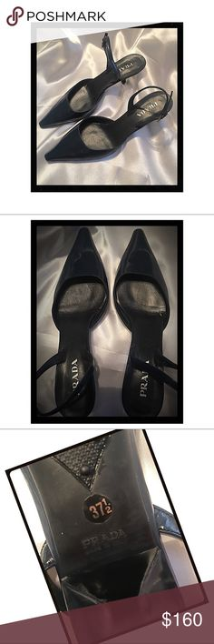 Prada Navy Patent Leather Kitten Heels These shoes are gorgeous! And surprisingly comfy! There are some marks on both heels, but it's hardly noticeable. And I mean, they are Prada...👠👠👠 Prada Shoes Heels