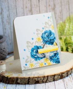 Blue Roses Card using @altenew  VINTAGE FLOWERS Clear Stamp Set   #rubberstamping