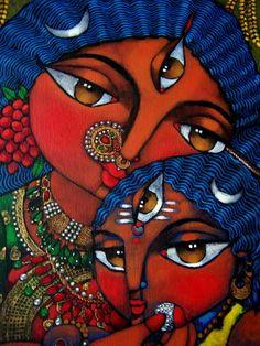 Annapurna Goddess of food and nourishment feeding Shiva via Deezden.  Stunning!