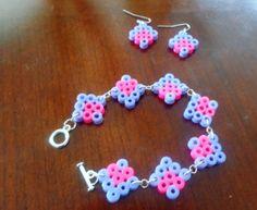DIY perler bead earrings and bracelet set
