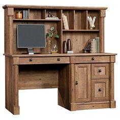 Sauder Palladia Computer Desk with Hutch, L: x W: x H: Vintage Oak Finish Computer Desk With Hutch, Desk Hutch, Home Office, Work Station Desk, Drawer Shelves, Vertical Storage, Large Drawers, Adjustable Shelving, Vintage Furniture