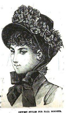 1884, Peterson's Magazine Victorian Hats, Victorian Fashion, Vintage Fashion, 1900 Clothing, Historical Clothing, Bustle Dress, Bonnet Hat, 19th Century Fashion, Love Hat