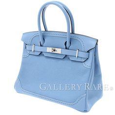 エルメス バーキン30 cm ギリーズ ハンドバッグ ブルーパラダイス×シルバー金具 トゴ×ヴォーエバーカラー A刻印 HERMES Ghillies Birkin バッグ
