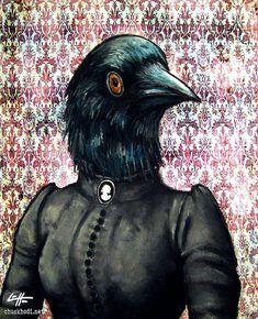 Print 8x10  The Bird Lady  Raven Victorian Dark Art by chuckhodi, $10.00