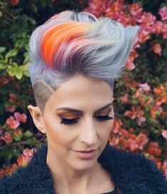 🔥 New hair color 🔥 Colo Spring Hairstyles, Pixie Hairstyles, Pixie Haircut, Cool Hairstyles, Short Funky Hairstyles, Short Dyed Hair, Short Hair Cuts, Short Hair Styles, Undercut Short Hair