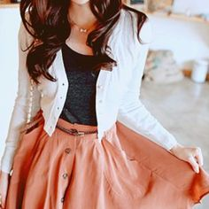 (Teacher Style) light pink linen skirt, heather gray scoop neck basic tee, white long sleeve cardigan, gold thin necklace. || no link, just a picture