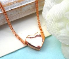 Copper Tiny Heart Adjustable Necklace Best by Kikiburrabeads, $15.00