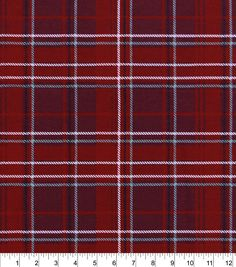 """Snuggle Flannel Fabric 42""""-Red Gray Plaid,"""
