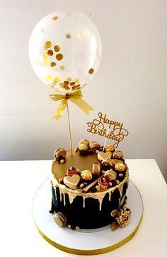Black And Gold Birthday Cake, Golden Birthday Cakes, Elegant Birthday Cakes, Happy Birthday Cake Images, Beautiful Birthday Cakes, Chocolate Cake Designs, Golden Cake, Wedding Cake Fresh Flowers, Balloon Cake
