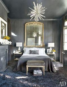 grey bedroom Interior Designer Lee Ledbetter, image via Architectural Digest Interior, Home Bedroom, Home Decor Trends, Bedroom Interior, Home Decor, House Interior, Trending Decor, Grey Room, Interior Design