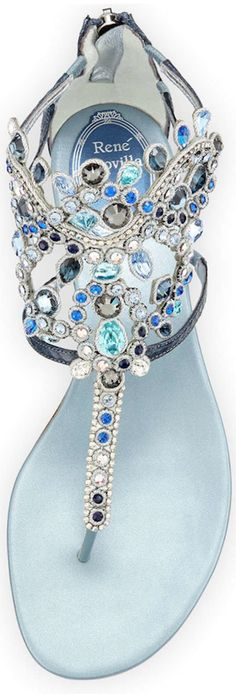 Rene Caovilla  Crystal-Chandelier Thong Sandal