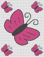 PINK BUTTERFLIES CROCHET PATTERN GRAPH E-MAILED.PDF #5105 | crochetpatternsetc - Crochet on ArtFire