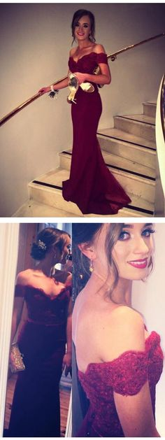 Burgundy Prom Dresses,Mermaid Prom Dresses,Off The Shoulder Prom Dresses,V-Neck Prom Dress,Lace Prom Dress,Elegant Prom Gowns,Formal Prom Dresses,Long Prom Dresses,Cheap Evening Gowns