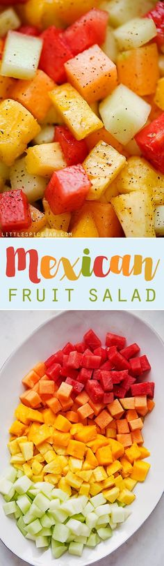 Mexican Fruit Salad - a fruit salad that combines watermelon, cantaloupe, honey dew, and mangoes that are tossed in a sweet spicy dressing! Perfect for summer! #mexicanfruit #fruitsalad #salad #mexicanfruitsalad | Littlespicejar.com
