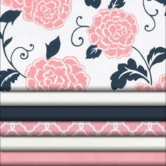 Coral and Navy Floral Fabric #carouseldesigns