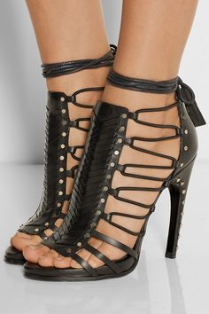 Emilio Pucci | Woven black leather high heel sandals | Shoes - NET-A-PORTER