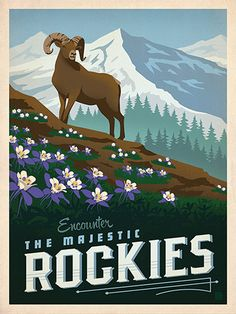 Macy's Flower Show: Rockies - This classic print is part of a series of posters called America the Beautiful. Six different regional designs were created for the 2016 Macy's Flower Show. Printed on gallery-grade matte-finished paper, this lovely Rocky Mou Voyage Usa, Voyage Canada, Colorado Rocky Mountains, National Park Posters, National Parks, Retro Poster, Poster Vintage, Kunst Poster, Parc National
