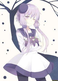 anime,art,beautiful pictures,girl,graps,purple,vocaloid,Yuzuki Yukari